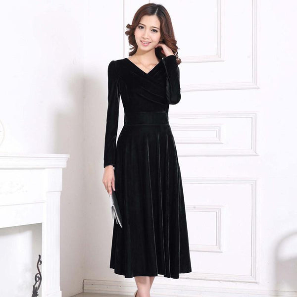Women Winter Dress V-Neck Long Maxi Velvet Dresses Elegant Ladies Formal Party Red Dresses black,red,blue