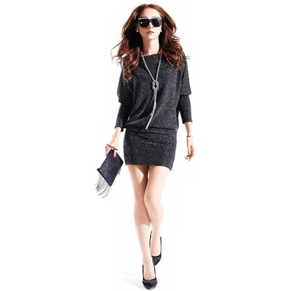 Cute Fashion Casual Active Slim Wild Elegant Long Sleeve Plus Size Batwing Sleeve Sequins Winter Women Dress