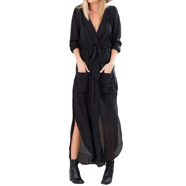 Women Casual Loose Deep V Neck Long Maxi Dress Sexy Split Chiffon Dress Plus Size