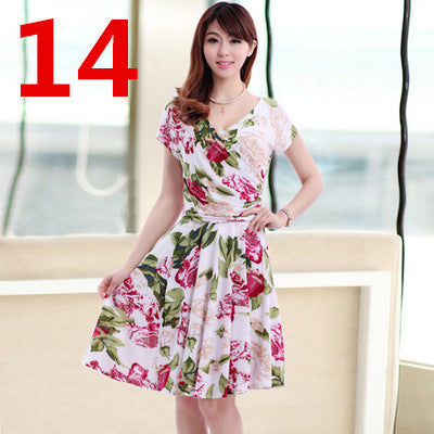 New Women Spring Boho Asymmetrical One-piece Floral Print Plus Size Clothing V-neck Short-sleeve Summer Beach Dress QA282