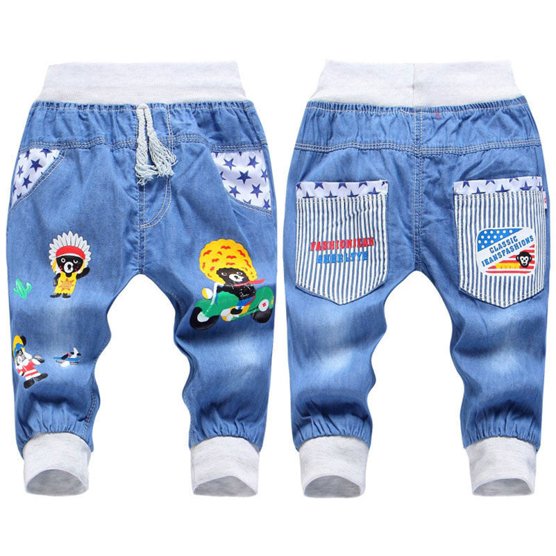 New Kids Jeans Elastic Waist Straight Bear Pattern Denim Seventh Pants Retail Boy Jeans For 2-5 Years WB142India Beara