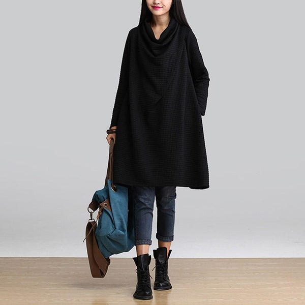 Women Casual Cotton Loose Scarf Collar Dress Temperament Long Sleeve Blouse Plus Size Dress