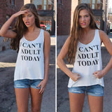 Online discount shop Australia - 3 Colors I CAN'T ADULT TODAY Letters Printed  Tank Top Sleeveless O Neck Loose Top fitness Fashion Women Clothing