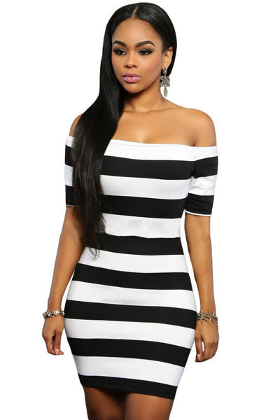 Night Club dress Black White Slash Neck Short Sleeve Striped Off Shoulder Mini Dress LC22686