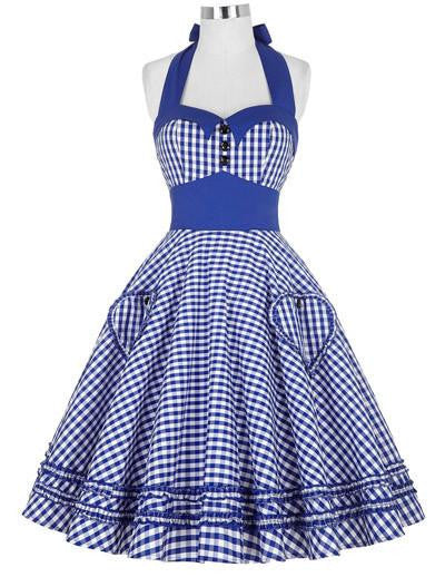 99fd0e03a3980 Women Dress Plus Size Audrey Hepburn Gowns Plaid Robe 50's 60s Vintage  Rockabilly Pin Up Swing Dress