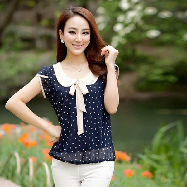 Online discount shop Australia - Casual Chiffon Shirts Dot Doll Collar Short Sleeve Tops Blouse Women Solid Tops Plus Size Loose M-2XL 62