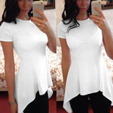 Online discount shop Australia - Fashion Irregular Hem Blouse Tops Sexy Women Short Sleeve O-neck Peplum Waist Slim Fit Casual Shirts