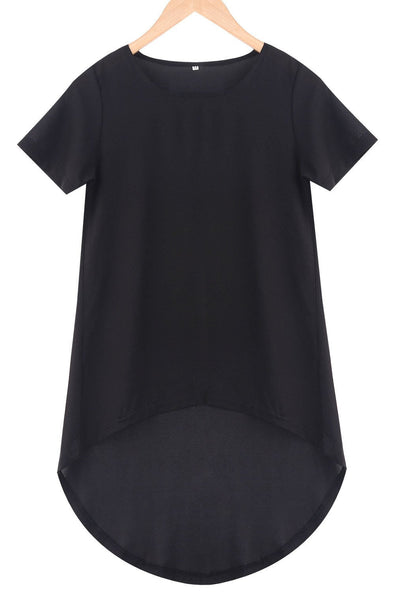 Women Casual Black Loose Short Sleeve Chiffon Shirt Top Plus Size T-Shirts