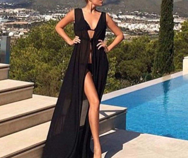 Women Chiffon Cardigan Long Swimwear With Belt Bathing Suit Sexy Beach Bikini Swimwear Cover Up Tops