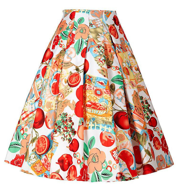 548c35a8fc 50s Floral print Skirts Womens faldas Style Pleated plus size retro Casual  Vintage skater skirt patterns