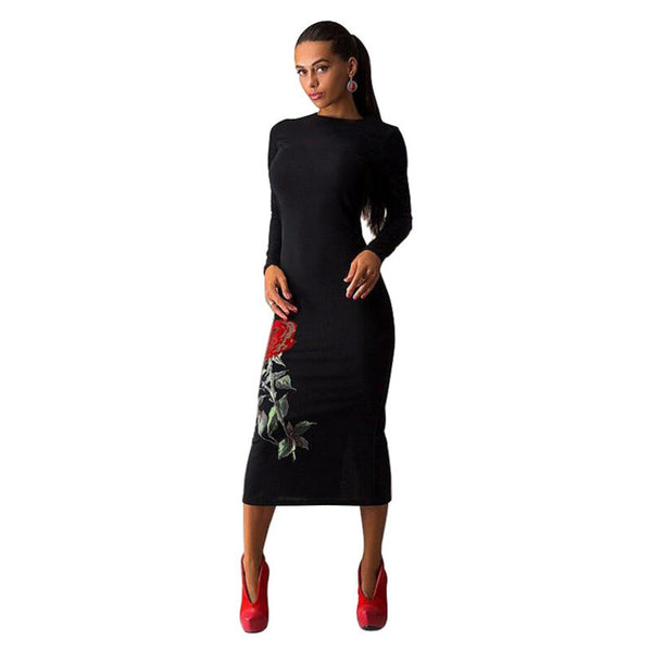 Plus Size women dress cosy o-neck long sleeve Floral Printed Autumn dress