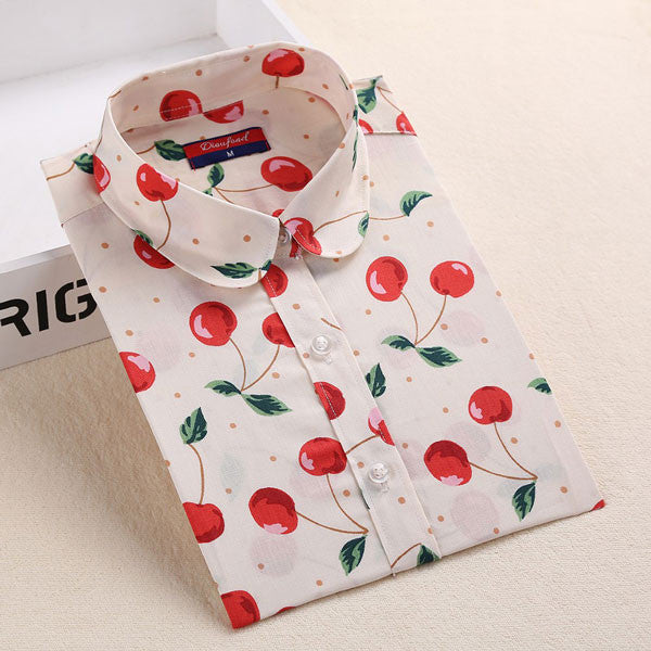 Online discount shop Australia - Brand New Flower Blouse Shirt Women Long Sleeve Fruit Shirt Lemon Printed Ladies Blouses Casual  Plus Size Tops