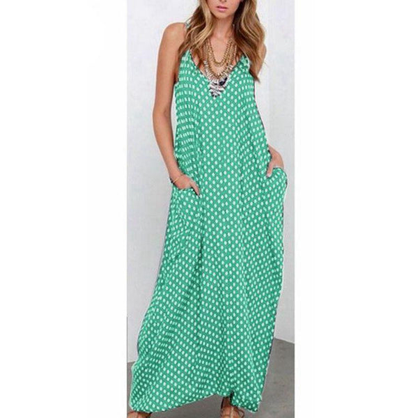 Women Strapless Polka Dot Casual Loose Long Maxi Summer Dress Cotton Beach