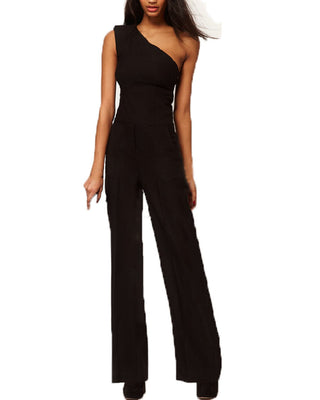 Sexy One Off Shoulder Jumpsuit Elegant Women Chiffon Long Empire Romper Plus Size Bodysuit Playsuit Overall