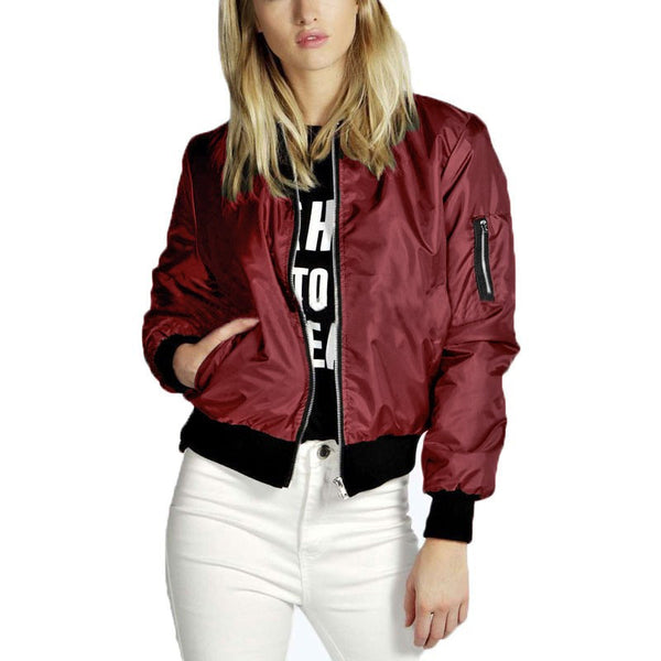 Online discount shop Australia - High Quality  Fashion Women Solid Celeb Bomber Jacket Coat Casual Stand Collar Slim Coat Short Outerwear Plus Size