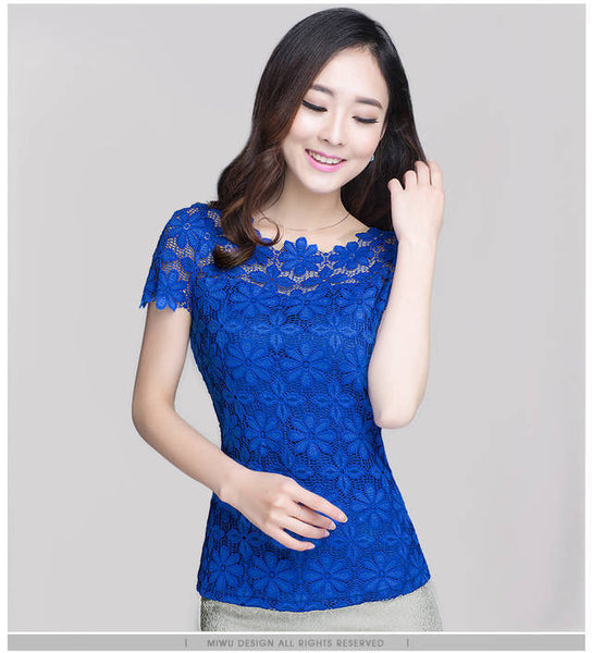 New Short Sleeve Tee Shirt Top For Women Clothing Women Lace Blouse Sexy Floral Sheer Blouses M-5XL