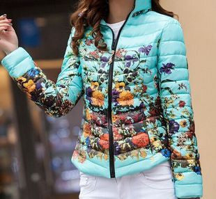 Online discount shop Australia - Jacket Slim Down Cotton Parkas Womens Flower Coats Plus Size Zippers Outerwear Woman Clothing LJ2761