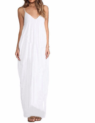 Online discount shop Australia - 3 Colors Sundress Beach Summer Women Dress Boho Strapless Sexy V-neck Sleeveless Baggy Long Maxi Dresses Plus Size