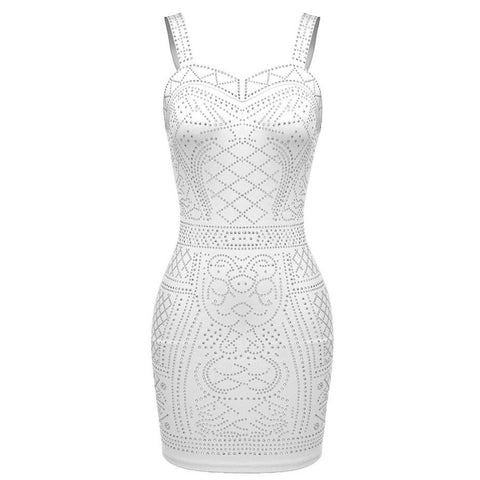 Women Sleeveless Vest dress Vintage Ethnic Sexy Bodycon Vestidos Sequin Pattern Party Female summer Plus size XXL Dress