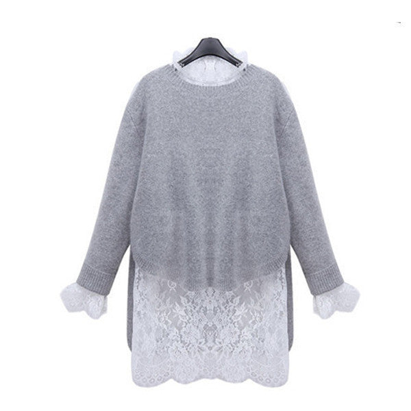 Women Dresses Winter Autumn Vestidos Sweater Long Sleeve Party Knitting Dress Lace Vestido Knitted 2 Pieces Set S M L