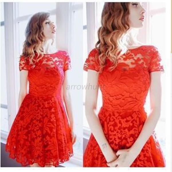 Women Floral Lace Dress Short Sleeve O-Neck Casual Mini Dresses S M L XL