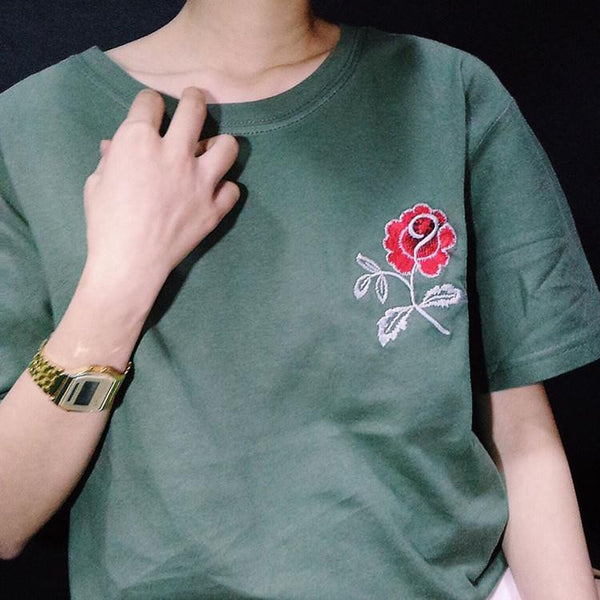 Army Green Embroidered Flower Rose Halajaku Casual Short Sleeve Female T-shirt