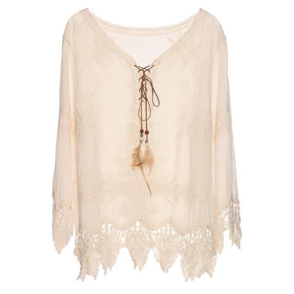 Online discount shop Australia - Gypsy Feather Duster Tops Hippie Boho People Style With Retro Embroidery Fishtail Lace Patch Design Tops Tee t shirt women