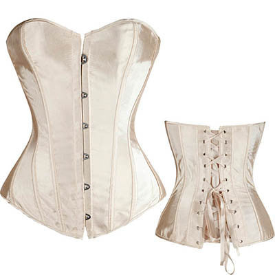 Lovely Pure New Women Satin Sexy Bustier Lace up Boned Top Corset Overbust