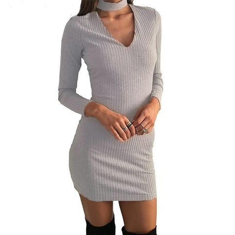 Winter Autumn Dress Women Long-sleeved Casual Dress Evening Mini Bodycon Bandage Sexy Black Short Sweater Dress Vestidos