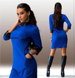 vestidos new 3 colors Turtlenecks Spring and Summer dress fashion three quarte PU patchwork women dress