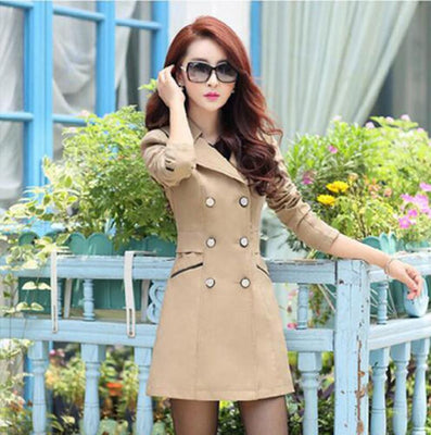 Women Fashion Turn-down Collar Double Breasted Candy Color Long Coats Plus Size Trench BN991