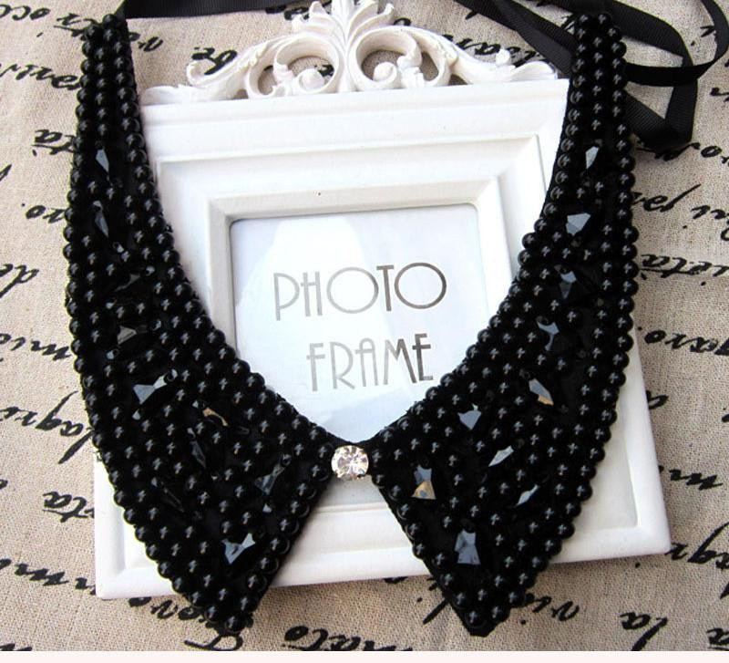Vintage black lace beaded collar choker collar necklace fake collar women 's clothing accessories sweet false collara