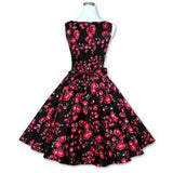 Women's Vintage 50s 60s Floral Rockabilly Tutu Pinup Sleeveless Bodycon Evening Party Clubwear Formal Dress