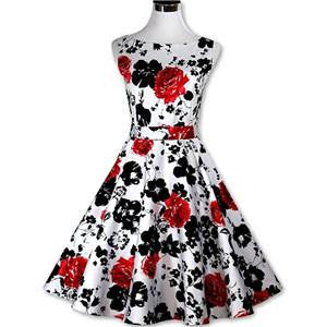 Sexy Women's Vintage 50s 60s Floral Rockabilly Tutu Pinup Sleeveless Bodycon Evening Party Clubwear Formal Dress