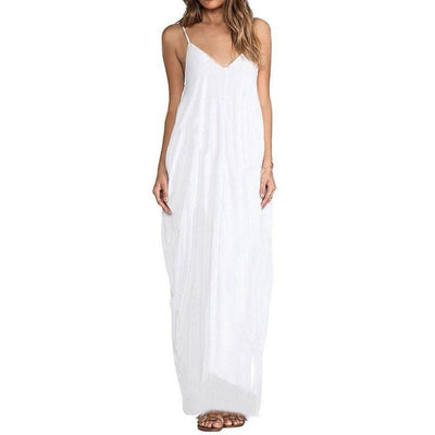 Zanzea Women Boho Strapless Sexy V Neck Sleeveless Dress Casual Loose Long Maxi Solid Dress Vestidos Plus Size