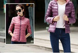 Stand Collar Slim Short White Duck Women Ultra Light Down Jacket Casual Coat