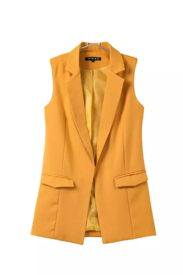 Autumn winter new fashion simple solid color no button short black white wine red yellow blazer jacketsyellowSa