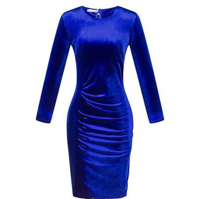 Online discount shop Australia - Fashion style spring casual women dress long sleeve sheath Pleuche dresses clubwear plus size women clothing fold pleuche S118