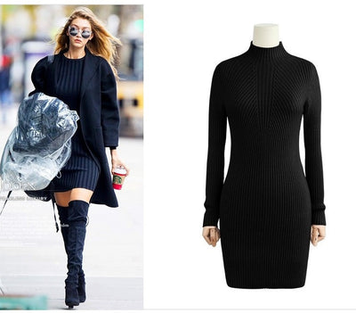 WomenCasual Dress Solid Semi Turtleneck Long Sleeve Thick Warm Bodycon Knitted Party Dress