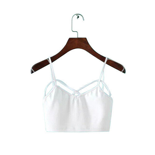 Women Lady Girl Fashion Camisole Cut Bra Crochet Straps Bandage-shaped Bustier Crop Top