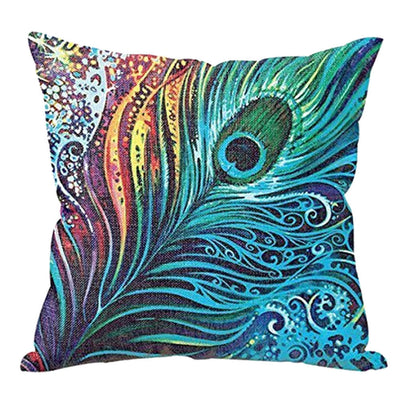 Online discount shop Australia - Colorful Feathers Cotton Linen Throw Pillow Case Cushion Cover For Car Sofa Bed Home Decor FULI