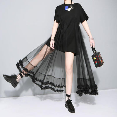 Summer t shirt stitching lace gauze dress women clothing fashion black white