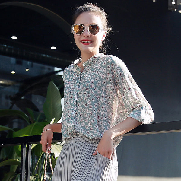 Printed Designs Half Sleeve Chiffon Blouse For Women Tops  Vintage Shirts Blouse Shirt