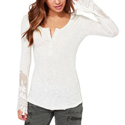 Online discount shop Australia - Women New Long Sleeve O-Neck Lace Patchwork Tops Ladies Sexy Casual Blouses Shirts Plus Size