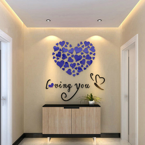 0ede570554 Romantic DIY Art 3D Acrylic Love Heart Wall Sticker Bedroom Living Room  wedding decoration wall stickers