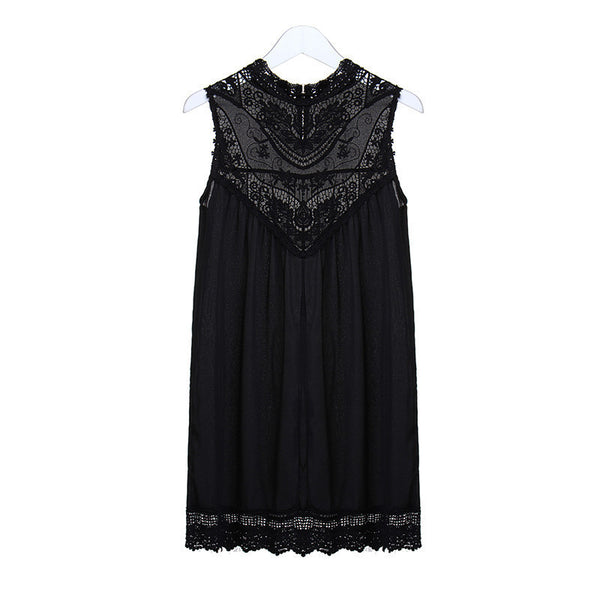 Women Black White Sleeveless Lace Crochet Summer Dresses Hollow Out Mini Dress Fashion Sexy Short Dresses S-4XL Vestidos