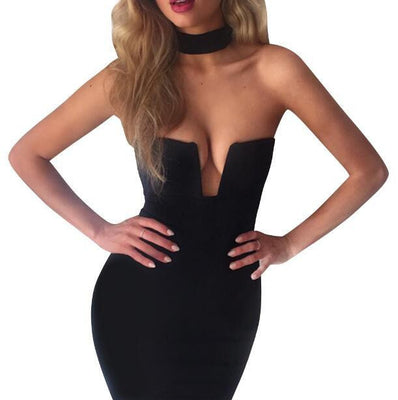 Women Summer Sexy Bodycon Dress Sleeveless Off Shoulder Black White Midi Dress Elegant Red Club Wear