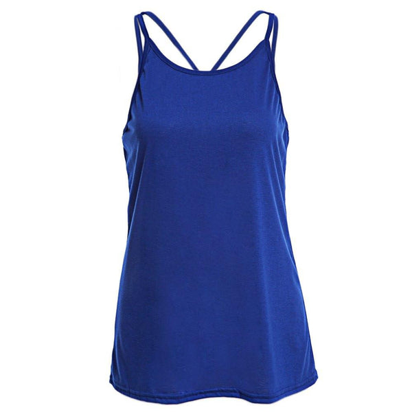 Women Tank Top Ladies Camisole Sleeveless Strap Vest Backless Tops Solid Criss Cross Loose Crop Top