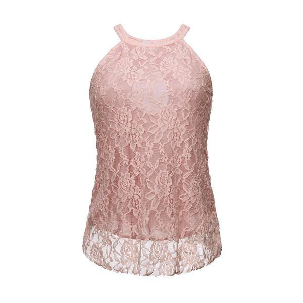 Tank Tops Fashion Halter Crochet Hollow Out Sleeveless Floral Crop Top Solid Lace Cropped Shirt