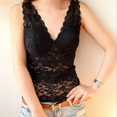 Online discount shop Australia - Fashion Women Sexy Vest V Neck Tank Tops Fitness Lace Flower Short Shirt CL005